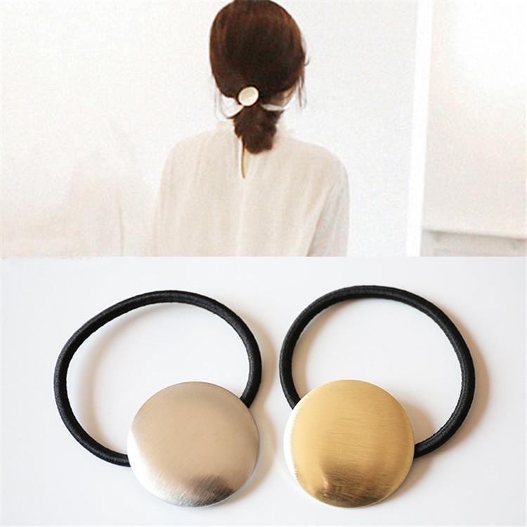 Dauerhafte koreanischen Stil Elastizität Mode Einfache Brushed runde Metallhairband Haar-Band-Stirnband Elegante Japanisch Koreanisch Kopf Acce