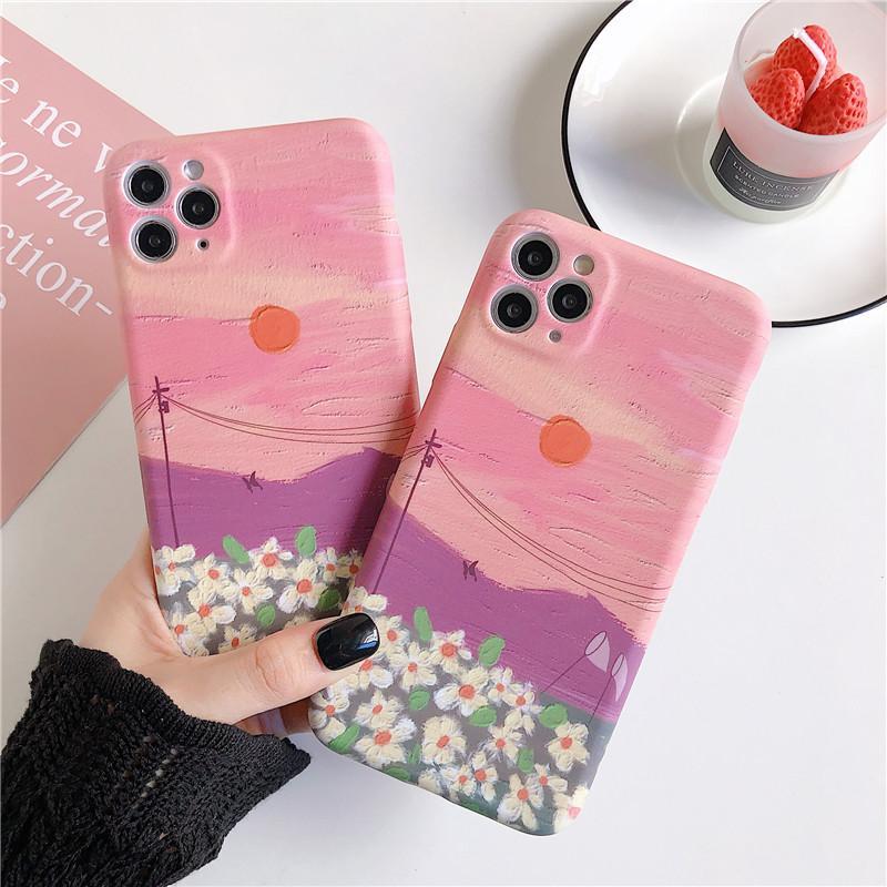 Dreamlike Sunset Glow Pembe Gül Bulut Yabani Çiçek Cep Telefonu Kılıfı için iphone 11 pro max 7 8 artı x xr