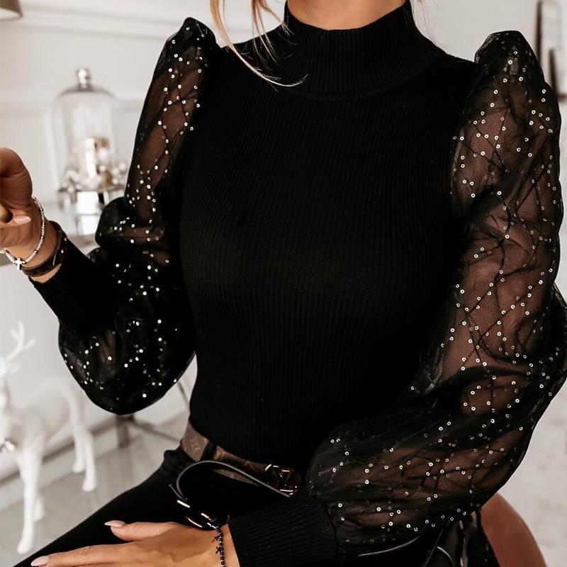 봄 자수 반짝이 메쉬 여성, 푹신한 여성의 긴 소매 블라우스를 조각 셔츠 블라우스 2020 가을 패션 캐주얼 여성 T200429