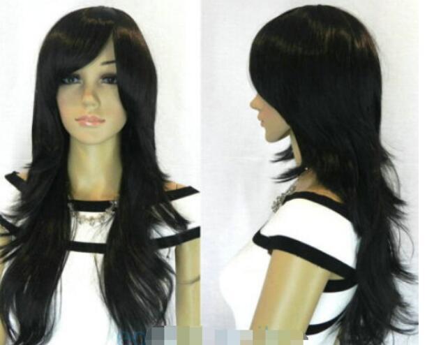 FREIES VERSCHIFFEN +++ + hitzebeständige Art- und Weiselange schwarze Frauen-weibliche Dame Hair Perücke