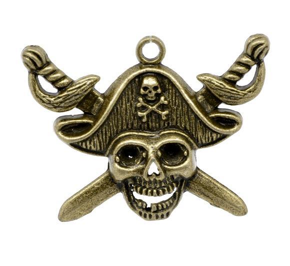 DoreenBeads 10 Bronze Tone Skull Charm pendentif 44x34mm (B13088) yiwu