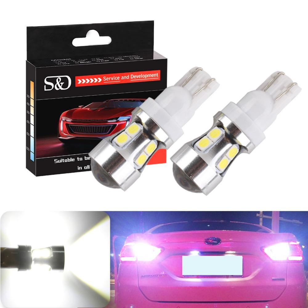 T10 T15 Canbus OBC Free Error Ampoules Intérieur LED DRL 194 W5W voiture Lampes externes Parking Auto Lumières 10-SMD 3030 Blanc D030