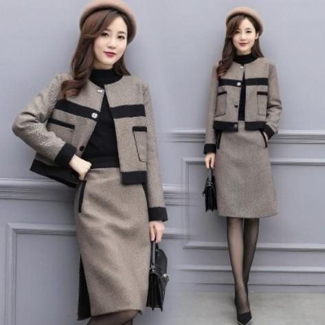 2 Adet Set Kadınlar 2019 Yeni Kadın Sonbahar / Kış İki Parçalı Set Yün Coat Yarım Etek Günlük Moda Suit