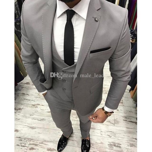 Красивые женихаесмены серый жених смокинги мужские свадебные платья мужской куртка Blazer выпускной ужин 3 шт (куртка + брюки + галстук + жилет) A51
