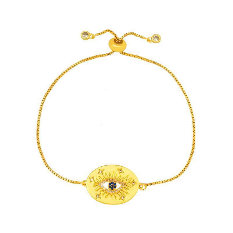 Riempito oro gioielli malocchio Bracciali Donne Good Luck Blue Eye Charm Bracelet turco ojo turco Bracciale greca regolabile