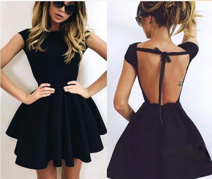 Simple Cheap Little Black Cocktail Dresses Halter Ball Gown Backless Homecoming Gowns Short Party Prom Dress BA3464