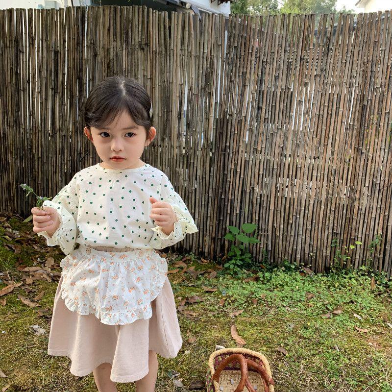 Весенние модели Детской одежды корейского стиль Полька Dot ленты Wawa Шань Дети Девочка круглого-образный вырез фонарь рукав