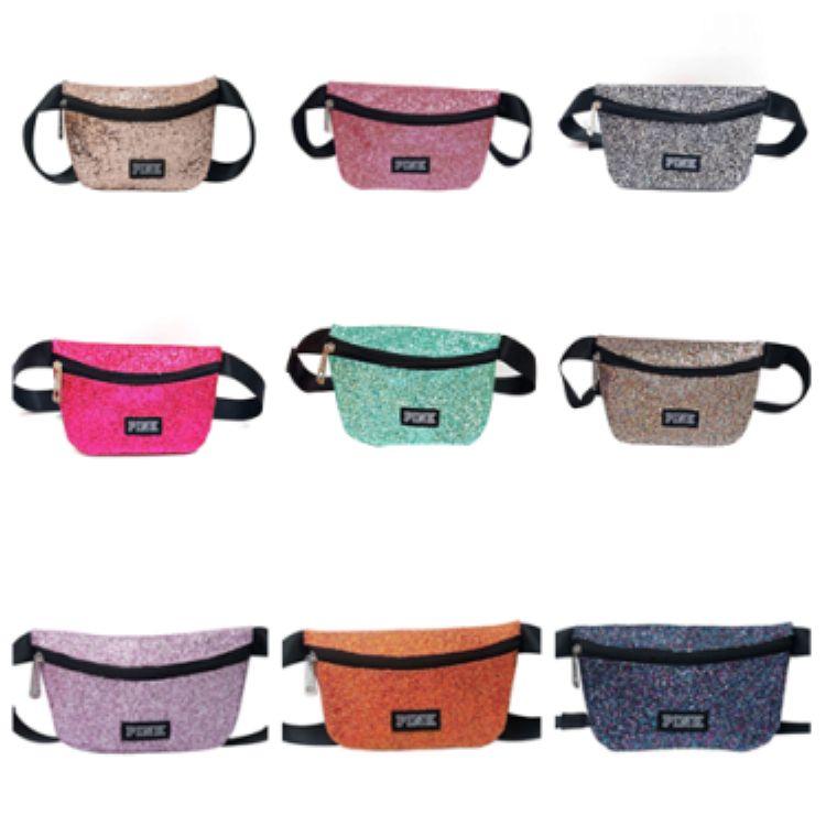 Style pink glitter sequin Fanny Pack love pink Waist Bag waterproof single-shoulder beach bags gym bag travel bag T2D5023