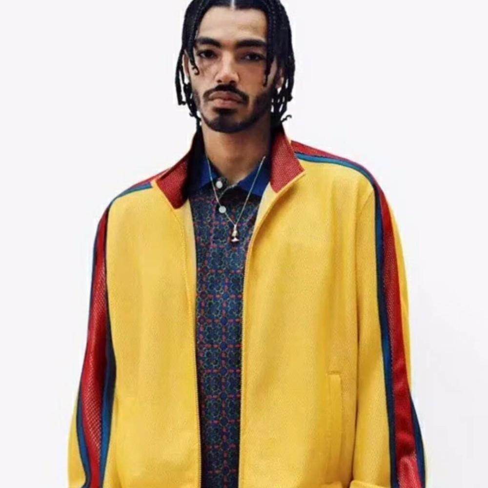 Manera- tapa de la chaqueta Week6 servidumbre de malla floja ocasional de los altos hombres y de las mujeres de calidad Pareja Azul Negro Amarillo HFBYJK027 Chaqueta