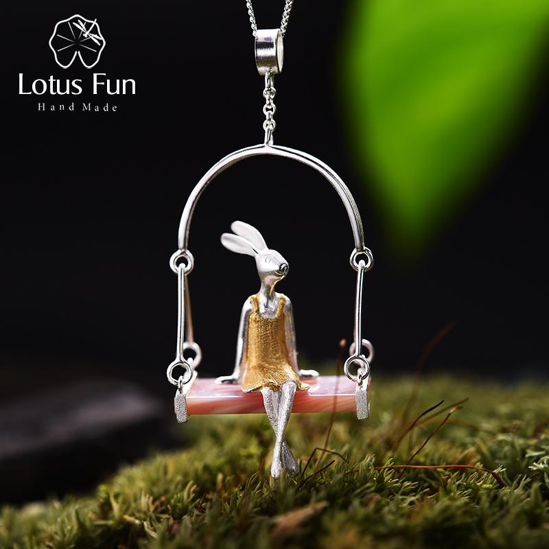 Lotus Fun Real Стерлингового Серебра 925 Натуральный Корпус Творческий Ручной Работы Изящных Ювелирных Изделий Мисс Кролик Кулон Без Цепи Acessorios Y19051803