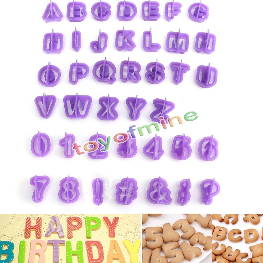 Wholesale- 40pcs purple Alphabet Number Letter Fondant Cake Decorating Set Icing Cutter Mold or cookie