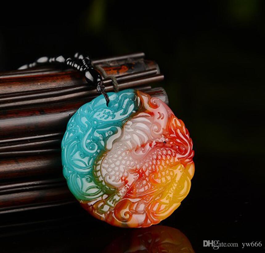 Sincan Gobi Altın İpek Yeşim Renk Jade Tavuk Yüzen Çiçek Unicorn kolye Renkli Akik Şanslı Jade Unicorn Pendant