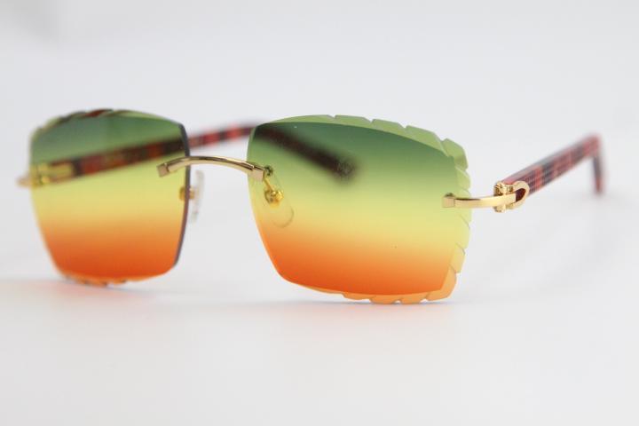 도매 최신 선글라스 3524012 안경 레드 판자 무탄 고품질 남성과 여성 조각 골드 금속 프레임 안경