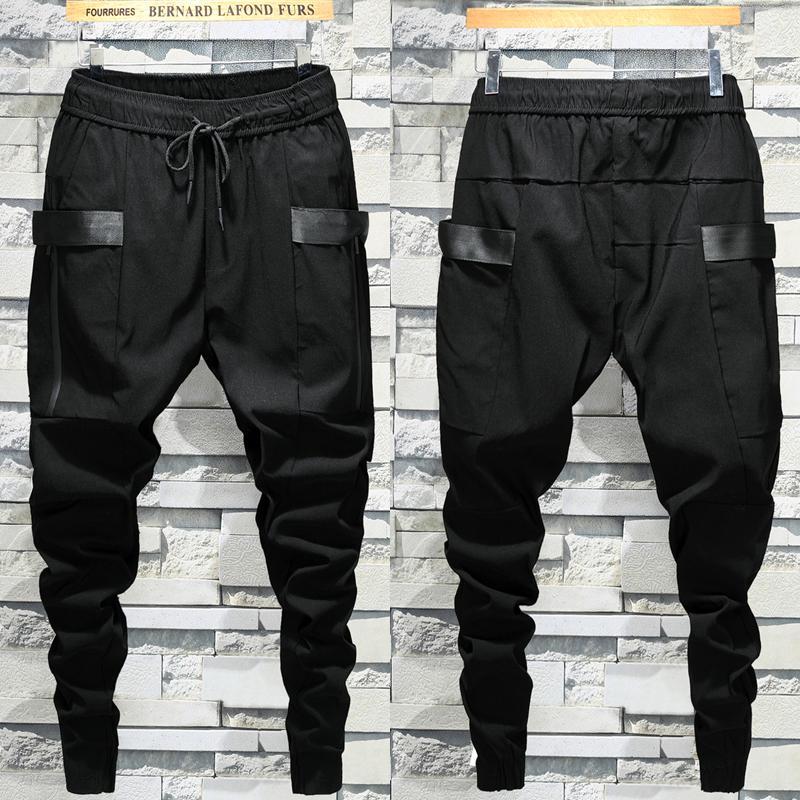 Punk Men/'s Cotton Blend Casual Harem Trousers Loose Fit Low Crotch Collape Pants