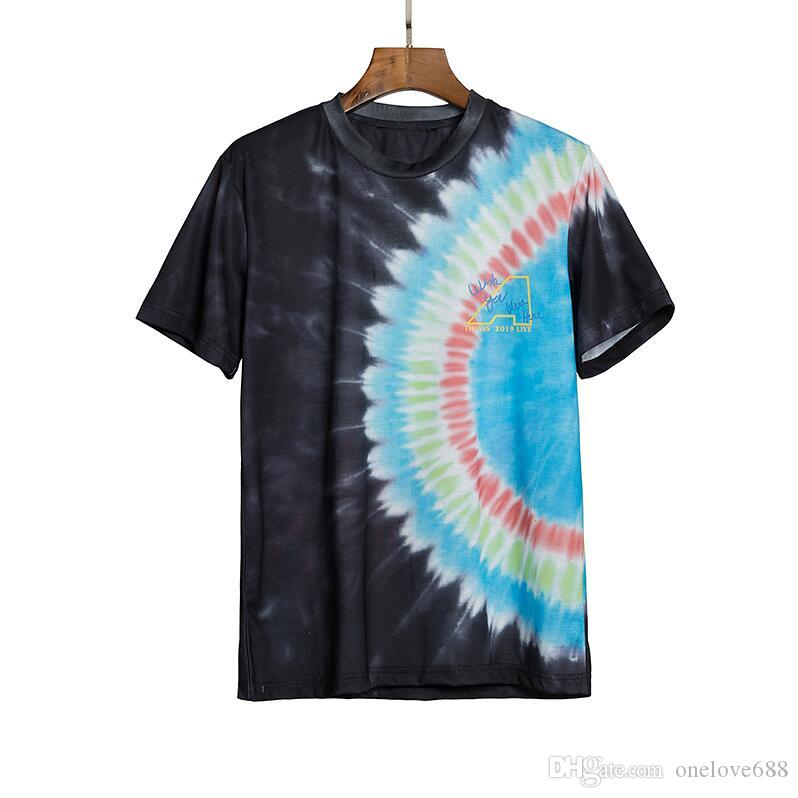 Free Shopping!New 2020 Spring/summer color oil painting flower printed short sleeve t-shirts men's and women's size S~XL