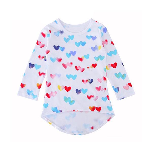 Tops para niñas Camisetas de manga larga de otoño y primavera para niños Niñas Algodón Impresión del corazón Ropa para niñas Camiseta