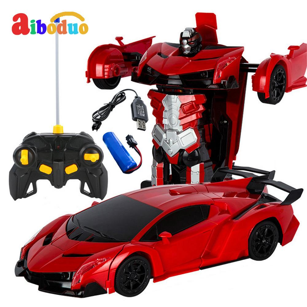 2 In 1 Robot Car Rc Deformation Car Toys Model Transformation Remote