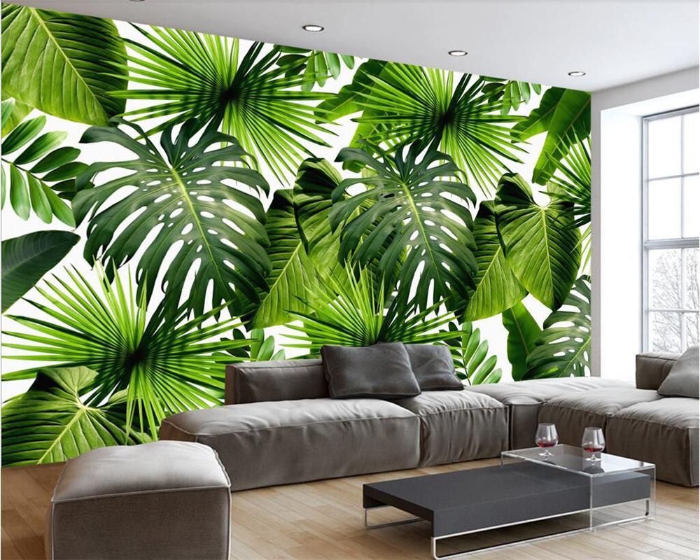 fondo de pantalla personalizado casa de decoración mural modernas paredes de fondo fresca selva planta de hoja de plátano 3d televisión wallpaper