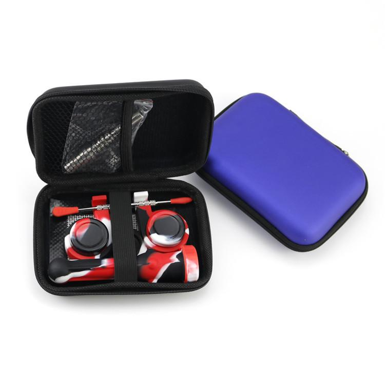 Silicone Collector NC Kit Set with Titanium Nail Dabber Tool Silicon Cap Holder Wax Container Mat Zipper Case Concentrate Dab DHL