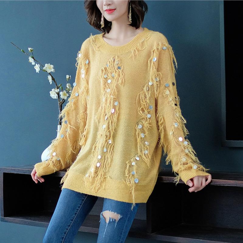 Lã Moda amarela em torno do pescoço manga comprida Tassel lantejoulas Knit Mulher Além disso Sweater Moda Casual Tide Outono Inverno Nova TD195