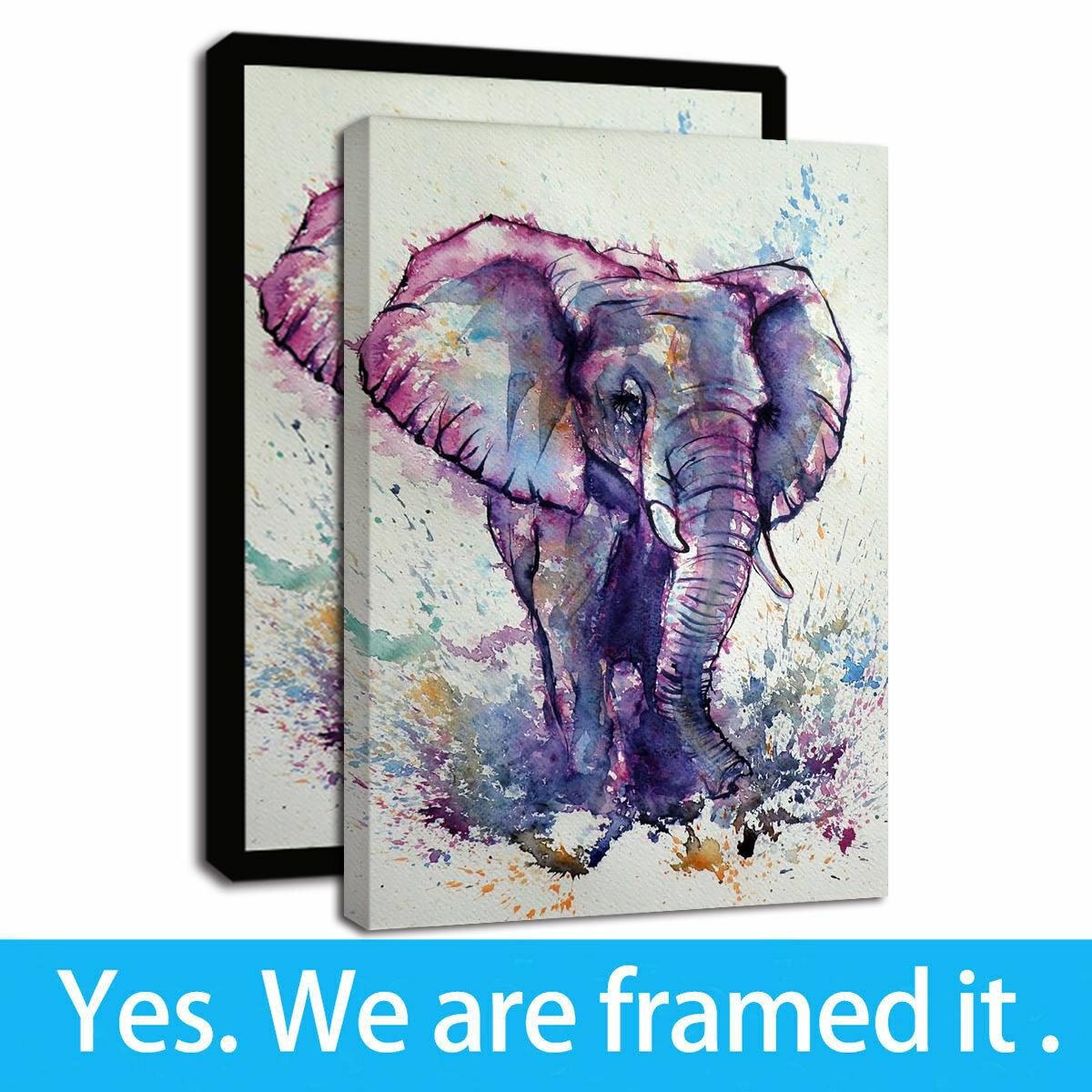 2019 Framed Canvas Wall Art Animal Purple Little Elephant Wall Pictures Giclee Print Wall Decor Oil Painting On Canvas Artwork From Artistplus 8 55