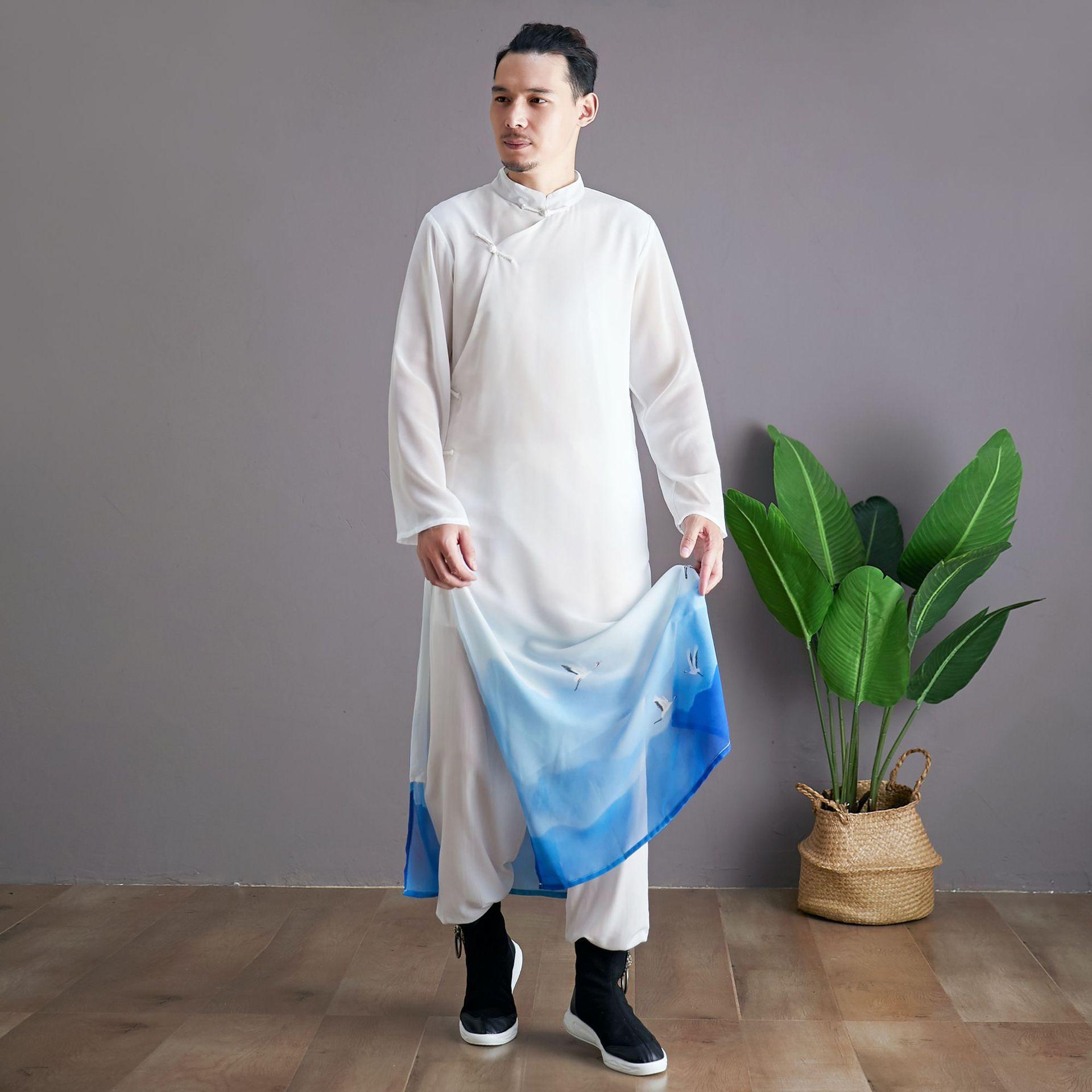 Традиционный китайский мандарин воротник Тан костюм Ханфу длинный халат классический чонсам платье для мужчин фильм ТВ кунг фу сценическая одежда косплей костюмы