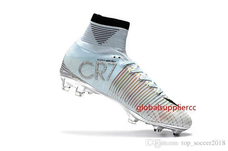 Original White Silver CR7 Soccer Cleats Mercurial Superfly V FG Outdoor Soccer Shoes Top Quality Cristiano Ronaldo Football Boots