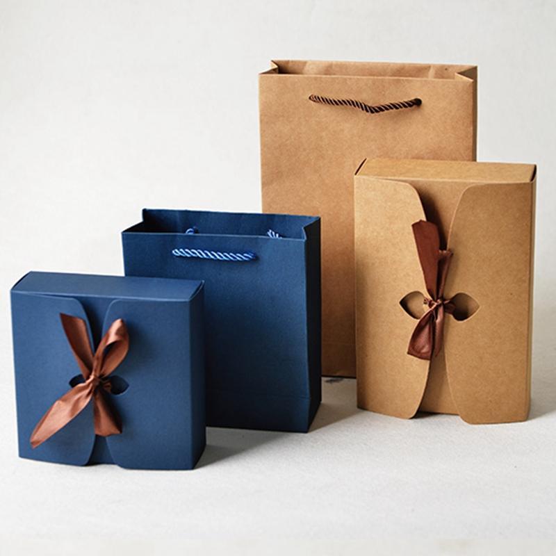 10pcs Decoração Bag Gift Box saco de papel Kraft Paper Box Com Fita Festa de Natal de aniversário de casamento DIY Retro Vintage / lot