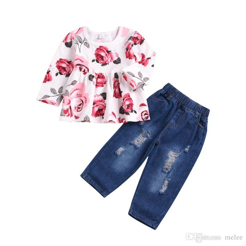 Newborn Baby Girl Ruffled Tops Floral Trouser Pant Tracksuit Sets Summer Holiday