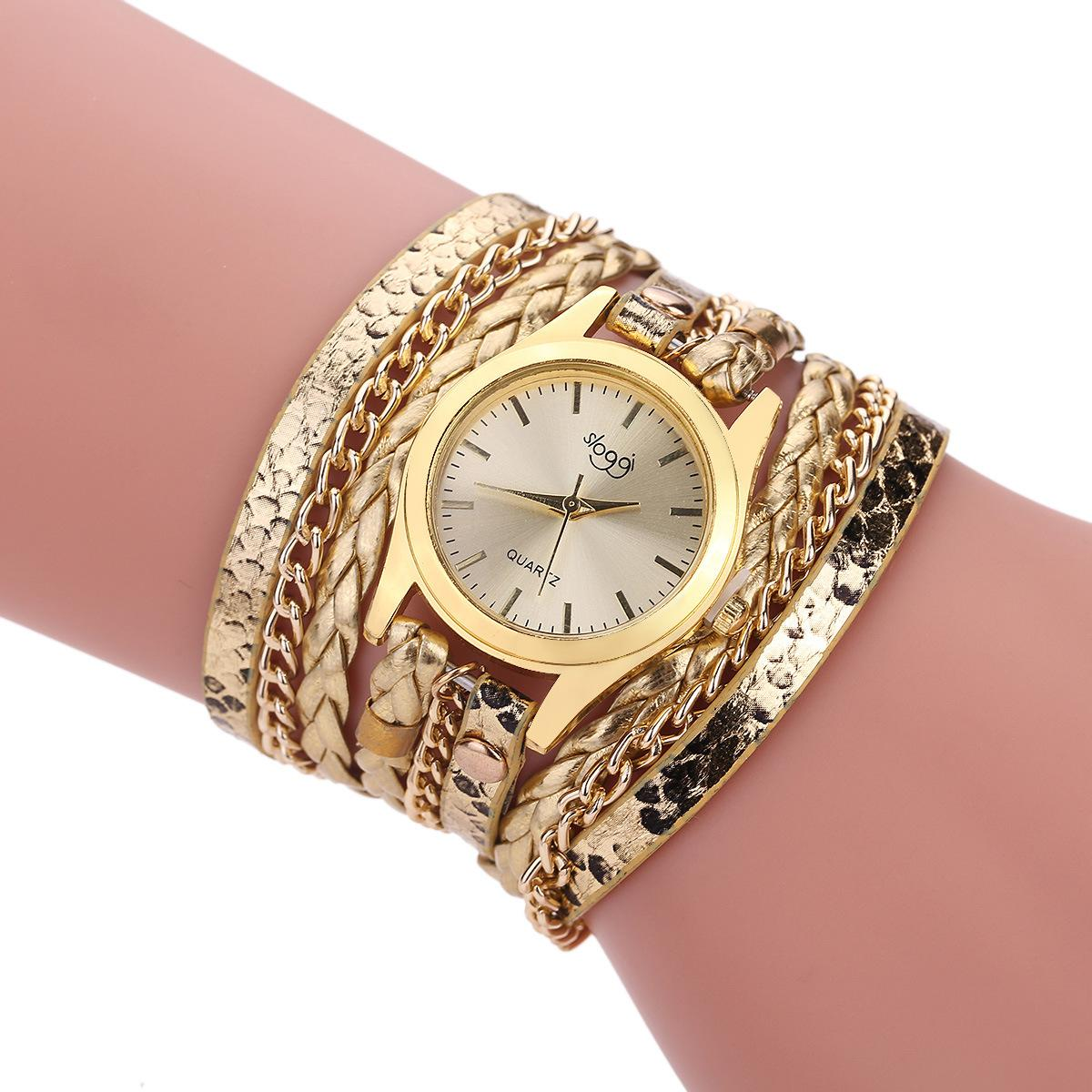 Casual in pelle Vintage multistrato da polso Weave Wrap Rivet del braccialetto delle donne orologio da polso