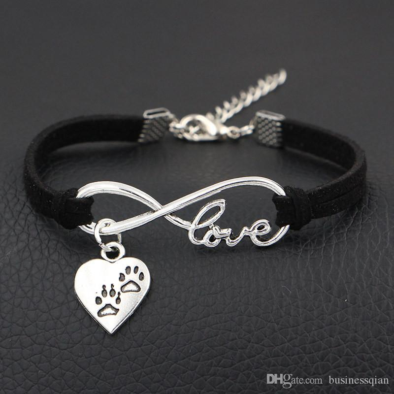 2019 New Arrival Double Dog Paw Prints Charms Bracelet & Bangles Antique Silver Infinity Love Black Leather Suede Cuff Jewelry For Women Men