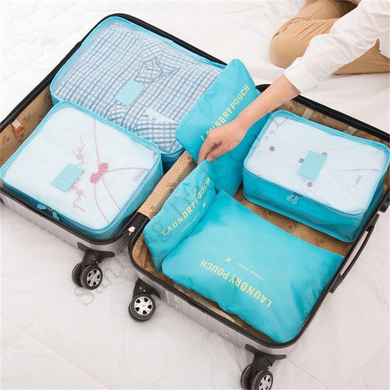 2020 Travel Makeup Bag 6piece/Set Waterproof Travel Storage Cloth Sorting Bag Set Bra Underwear Luggage Organizers Storage Bags E11304