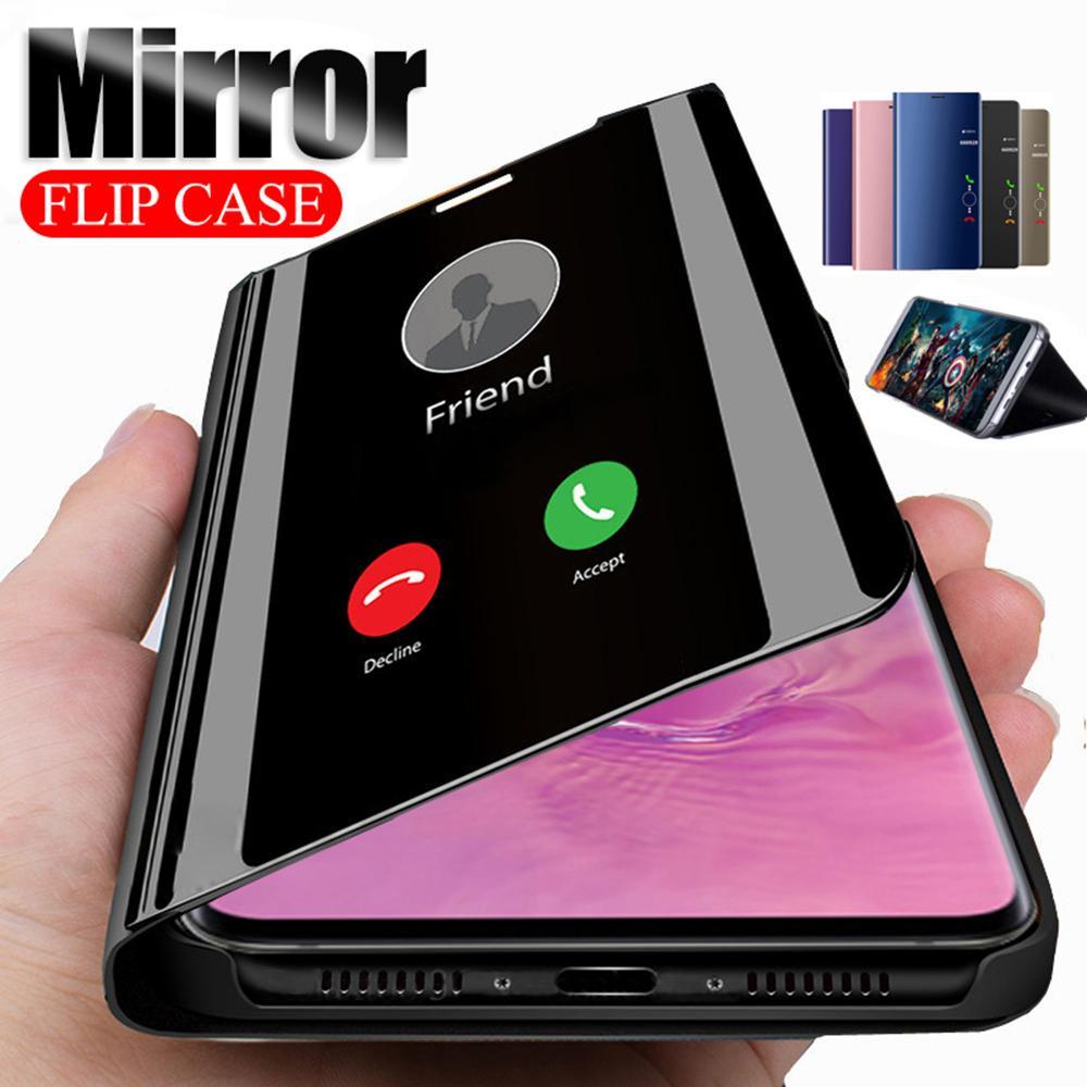 Espejo inteligente tirón del caso para Samsung Galaxy Plus S20 S10 S9 S8 Plus S7 Nota borde 10 del soporte del teléfono Cubierta del libro fundas Coque