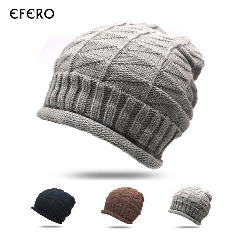 efero 1 Adet Kadın Kış Şapka Erkekler Beanie Tığ Cap Örme Sıcak Kadınlar Örgü Skullies kasketleri Şapka Katı Renk Bonnet Isınma Caps