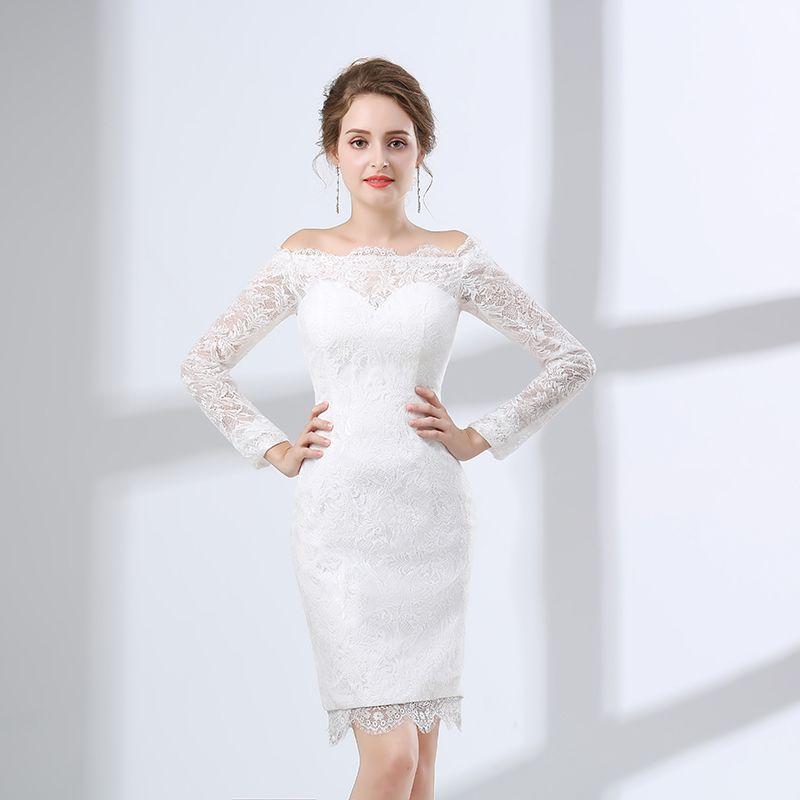 Off-shoulder Long Sleeved Wedding Dresses Tight Fitted Button Up Back Short Lace Wedding Dresses Bridal Dresses