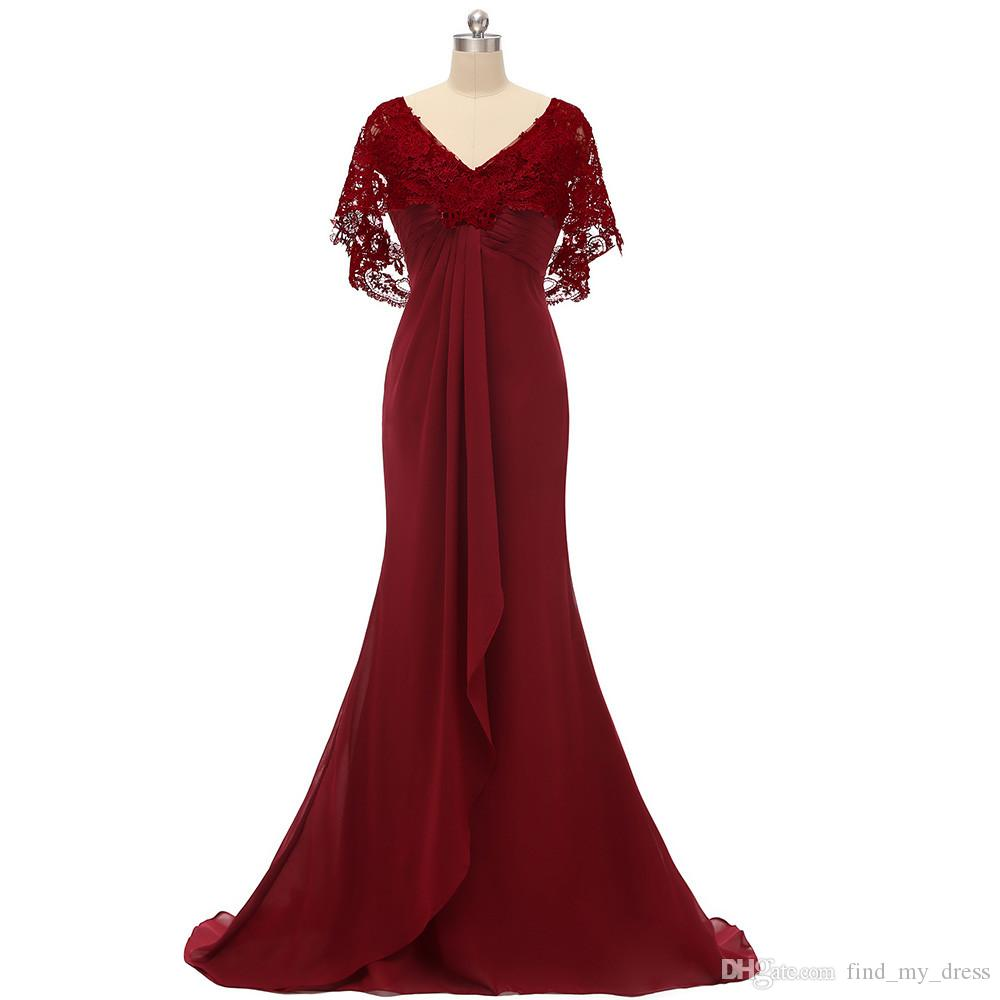 V Neck Real Image Draped Chiffon Mermiad Burgundy Lace Evening Dress with Wrap Lace Backless Formal Gown Appliques Sweep Train Pleats Modern