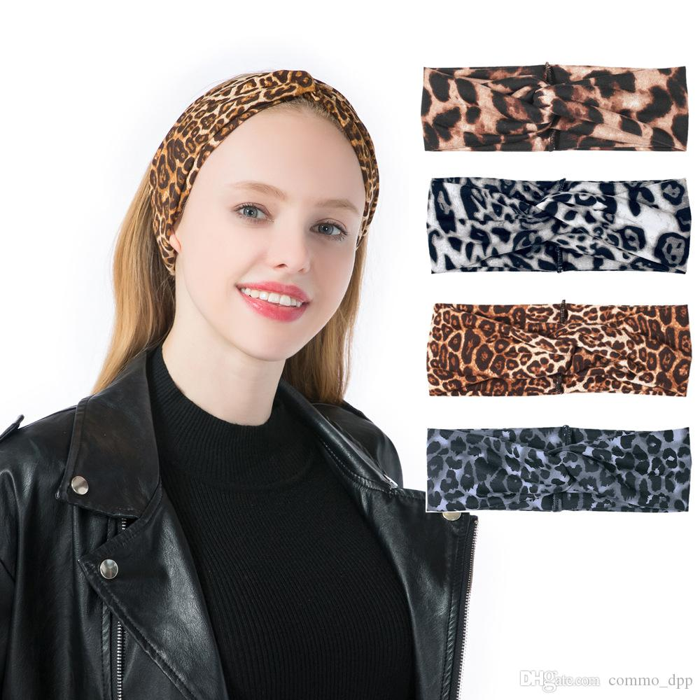 Nouveau léopard designer designer Bandeau Turban Pour Femmes Stretch Twisted Noeud Sport Yoga Wrap bandeaux foulard accessoires de cheveux