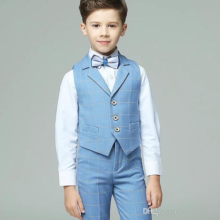 2019 New Plaid 2 Pieces Boy's Formal Wear Suit Summer Kids Wedding Kids Designer Clothes Boys For Party Prom