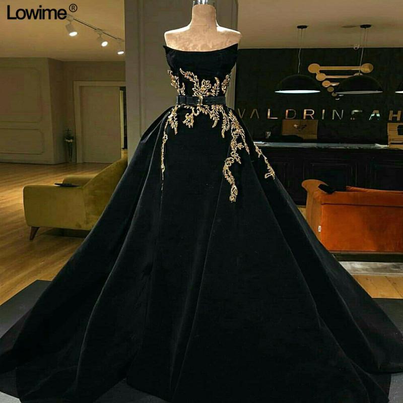 2020 Siyah Straplez Abiye Woth Altın Aplikler Vintage A-line Plus Size Gelinlik Custom Made Örgün Parti Pageant Elbise