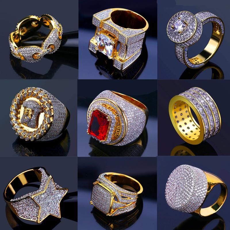 Deisnger hombres anillos Bling Hiphop heló hacia fuera los anillos de oro para hombre de joyería de Hip Hop fresco lujo piedra de la CZ