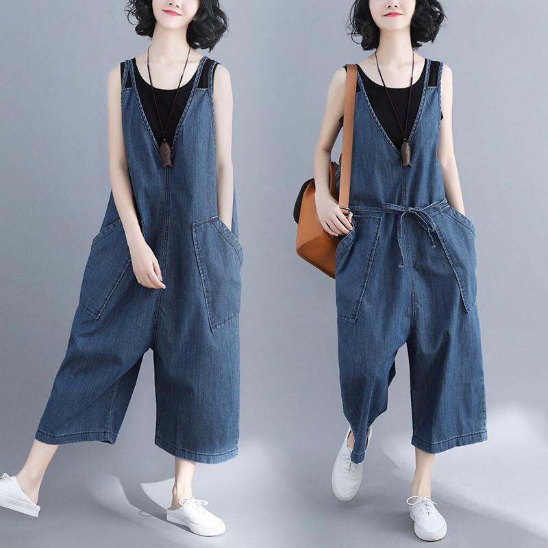 # 4025 Весна Осень V-образный вырез без рукавов Женщины Жан Комбинезон Твердых балахонов Ladise Мода Wide Leg Большого размера Комбинезон Lady
