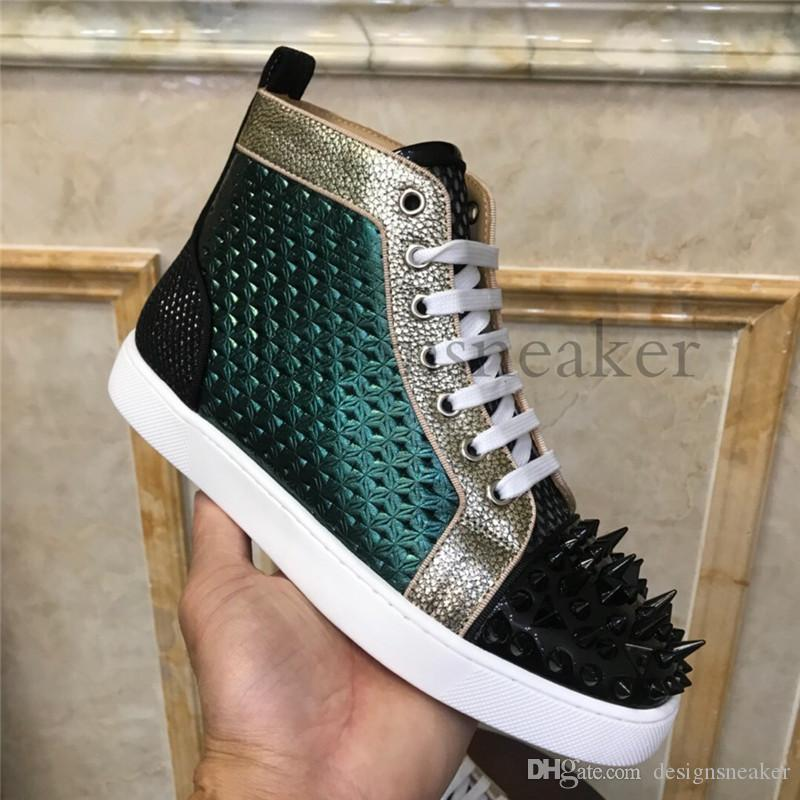 2019 New Arrival Mens Women Suede Leather Studded Spikes High Top Red Bottom Sneakers Casual Dress Trainers Sneakers Shoes
