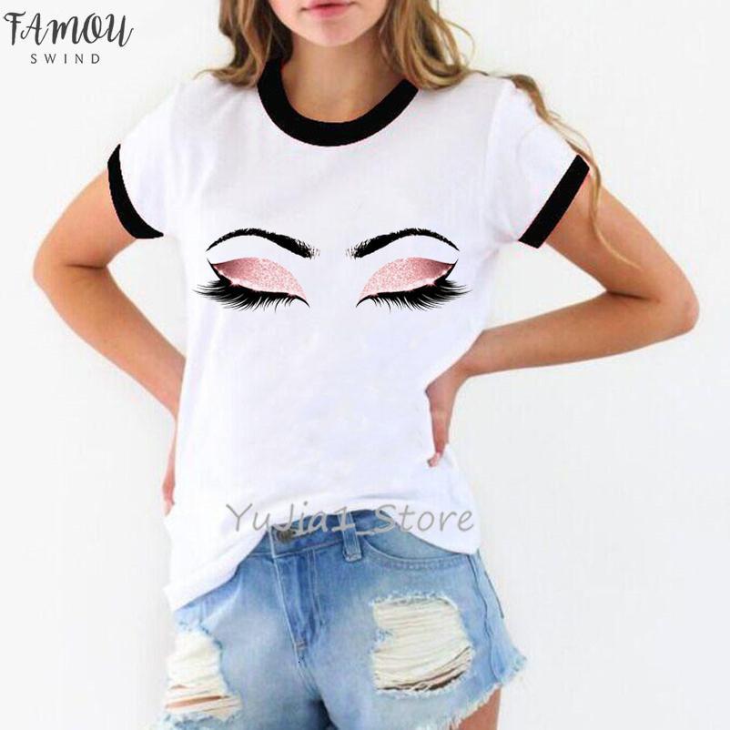 Princesse Maquillage Art Cils rose Imprimer Vogue T-shirt femme Kawaii Tumblr T-shirt Streetwear Hipster été Top Vêtements femme