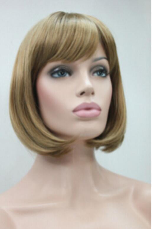 Pelucas de las mujeres del pelo sintético del bob recto recto corto de la fresa ligera rubia del envío de WIG
