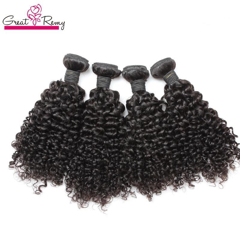 """Greatremy Malaysian Menschenhaar-Webart Doppeleinschlagverlängerungen 8 """"~ 30"""" 3PCS / lot Rohboden Remy Haar-natürliche Farbe einfärbbar Curly Welle"""