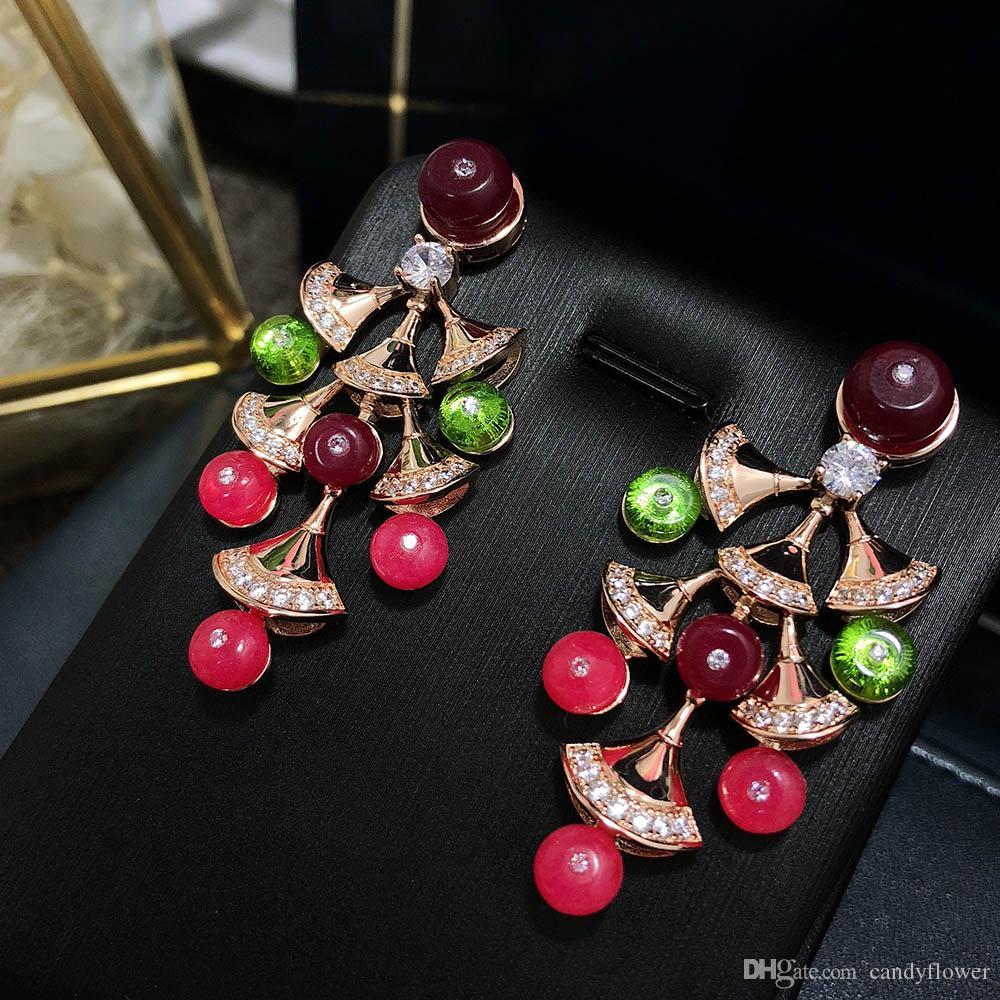 925 sterling argent earpin CZ diamant rouge naturel Pierre Géométrique Boucles d'oreilles 18 K Or ROSE Plaqué Femmes Parti Bijoux