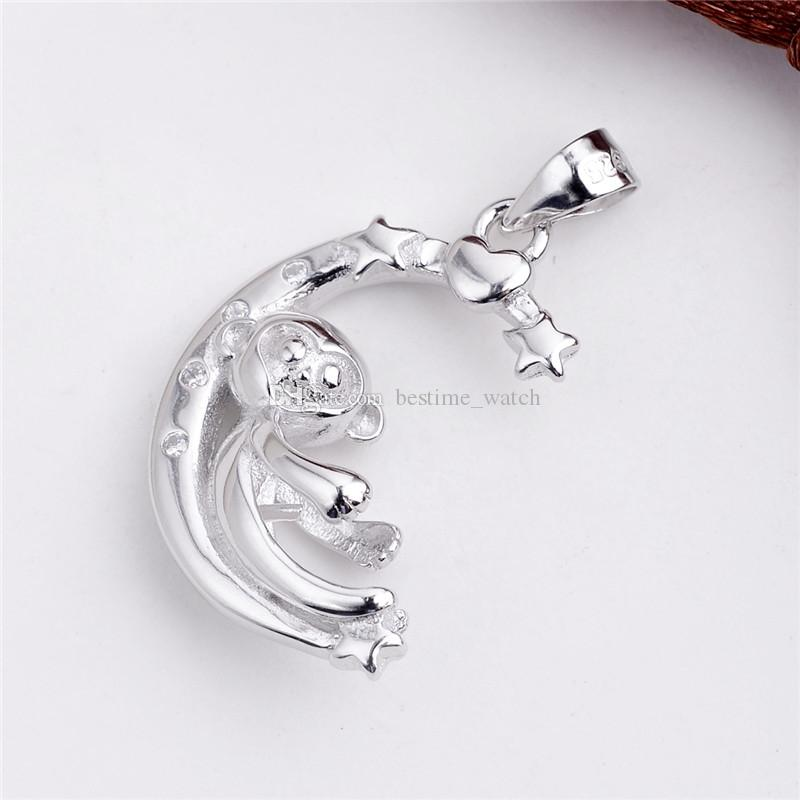 HOPEARL Jewelry Monkey Moon Star Pendant 925 Sterling Silver Pearl Findings DIY Semi Mountings 3 Pieces