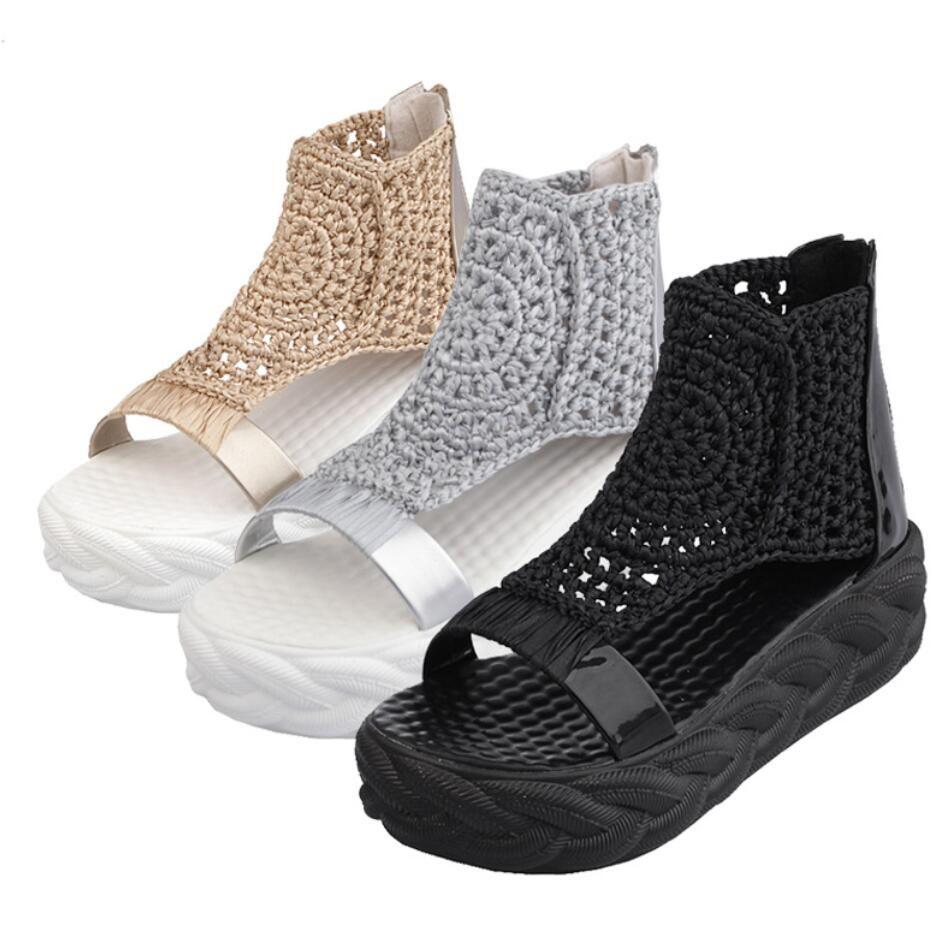 Chaussures Hot Sale Femme plate-forme pure plate-forme main 2020 nouvelle plate-forme gâteau étudiantes sandales haut top romaine chaussures de sport