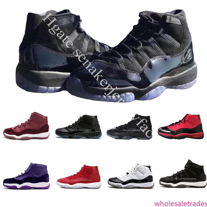 XI Prom Night Cap and Gown Gym Space Jam Red Win comme 96 11s hommes de basket-ball Chaussures de sport Chaussures de sport de sport taille de 5,5 à 13
