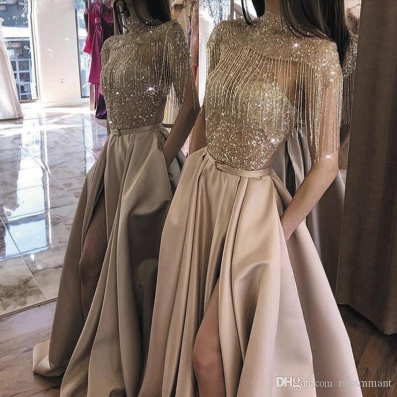 Tassel A Line evening dresses 2020 High Neck Split Short Sleeve Beaded Sparkle Gold Satin Vestidos De Graduacion Largos Robe De Soiree